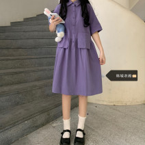 Dress Summer 2021 violet S,M,L,XL Middle-skirt singleton  Short sleeve Sweet Doll Collar High waist Solid color Socket A-line skirt routine 18-24 years old Other / other Splicing 51% (inclusive) - 70% (inclusive) other polyester fiber solar system