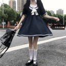 Dress Summer 2021 Picture color S,M,L,XL Middle-skirt singleton  Short sleeve Sweet Admiral High waist other Socket A-line skirt other 18-24 years old Other / other Bowknot, stitching 51% (inclusive) - 70% (inclusive) other polyester fiber solar system