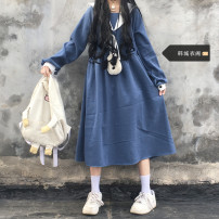 Dress Spring 2021 blue S,M,L,XL Mid length dress singleton  Long sleeves Sweet Admiral High waist Socket A-line skirt routine 18-24 years old Other / other Lace up, stitching 51% (inclusive) - 70% (inclusive) polyester fiber solar system