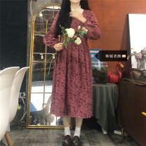 Dress Winter 2020 Apricot interior (one piece), floral dress (one piece) S,M,L,XL Mid length dress Two piece set Long sleeves commute square neck High waist Broken flowers Socket A-line skirt routine 18-24 years old Type A Other / other literature 51% (inclusive) - 70% (inclusive) other