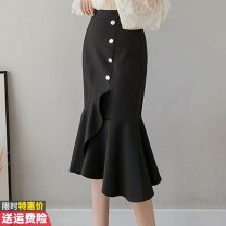 skirt Summer 2020 S,M,L,XL,2XL,3XL Red, black commute High waist skirt Solid color Type A 30-34 years old GT621-2027 other Button, zipper Korean version