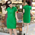 Dress Summer of 2018 Green, black, red M,L,XL,XXL,XXXL,XXXXL Mid length dress singleton  Short sleeve commute stand collar Loose waist Solid color Socket other other Others 18-24 years old Korean version Pocket, stitching, zipper, 3D 91% (inclusive) - 95% (inclusive) cotton