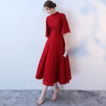 Dress / evening wear Wedding, adulthood, party, company annual meeting, performance, routine, appointment XXL,S,M,L,XL claret fashion longuette High waist Autumn of 2019 A-line skirt stand collar Bandage polyester 26-35 years old Short sleeve Nail bead 31% (inclusive) - 50% (inclusive)