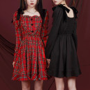 Dress Autumn 2020 Black, red, black (pre-sale), red (pre-sale), original has applied for copyright S,M,L Mid length dress singleton  Long sleeves Big swing Type X sagidolls S20Y199 91% (inclusive) - 95% (inclusive) other