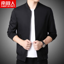 Jacket NGGGN Fashion City M L XL 2XL 3XL 4XL routine standard Other leisure autumn Polyester 100% Long sleeves Wear out Baseball collar Business Casual routine Zipper placket Rib hem No iron treatment Closing sleeve Solid color polyester fiber Autumn of 2019 More than two bags) Zipper bag