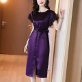 Dress Summer 2021 Black Purple S M L XL 2XL 3XL 4XL longuette singleton  Short sleeve commute Crew neck middle-waisted Solid color Socket One pace skirt routine Others 30-34 years old Kevenor Frenulum K-LYQ1572 71% (inclusive) - 80% (inclusive) Cellulose acetate Acetate 74% polyester 26%