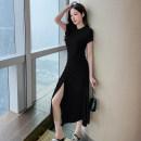 Dress Summer 2021 Gray, black S,M,L,XL Miniskirt singleton  commute Crew neck High waist Socket Sleeve Type X Sequins 51% (inclusive) - 70% (inclusive) other