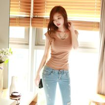 T-shirt Pink white gray black apricot XS S M L XL 2XL Summer of 2018 Short sleeve Crew neck Self cultivation routine commute cotton 96% and above 25-29 years old Korean version youth TX182018- Strap butterfly dew back