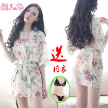 Nightdress Other / other Suitable for 80-110 Jin, 100-120 Jin, 110-130 Jin, 130-160 Jin Sweet Short sleeve Living clothes UltraShort  autumn Plants and flowers middle age Shirt collar Iced silk Embroidery More than 95% Chiffon Charming girl 200g