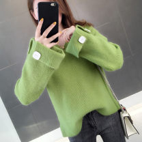 sweater Autumn of 2019 S M L XL Avocado Green off white pink blue Long sleeves Socket singleton  Regular other 95% and above V-neck Regular routine Solid color Straight cylinder Regular wool Keep warm and warm 25-29 years old Red confusion HH36624812 Button Other 100% Pure e-commerce (online only)