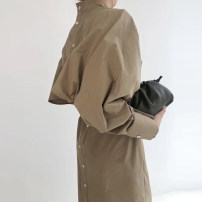 Dress Spring 2021 Navy blue, brown coffee Average size longuette singleton  Long sleeves commute stand collar High waist Solid color Single breasted routine Others Type A Korean version other
