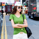 T-shirt Green, white, black, rose red, yellow, orange, brick red, 307 white [short sleeve thin] M,L,XL,XXL Spring 2021 Short sleeve V-neck Self cultivation Regular routine commute other 96% and above 18-24 years old Korean version youth Solid color Sarhman / Satman OBWU12590