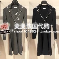 Dress Autumn of 2019 Gray, black 36, 38, 40 Middle-skirt singleton  Long sleeves commute V-neck middle-waisted Socket A-line skirt Others SANDRO SFPRO00514 51% (inclusive) - 70% (inclusive) other nylon