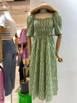Dress Spring 2021 green S,M,L,XL Mid length dress singleton  Short sleeve commute square neck High waist lattice Socket A-line skirt puff sleeve Others 18-24 years old Type A Korean version 71% (inclusive) - 80% (inclusive) other cotton