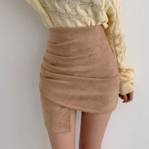 skirt Autumn 2020 XS,S,M,L Camel, army green, black Short skirt sexy High waist skirt Solid color Type H 18-24 years old 91% (inclusive) - 95% (inclusive) brocade Other / other nylon Flocking, asymmetric, zipper, resin fixation, splicing 301g / m ^ 2 (including) - 350g / m ^ 2 (including)