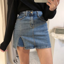 skirt Spring 2020 XS,S,M,L Medium blue Short skirt Versatile High waist skirt Solid color Type H 18-24 years old 91% (inclusive) - 95% (inclusive) Denim Other / other cotton Pocket, asymmetric, worn, button, zipper 351g / m ^ 2 (including) - 400g / m ^ 2 (including)
