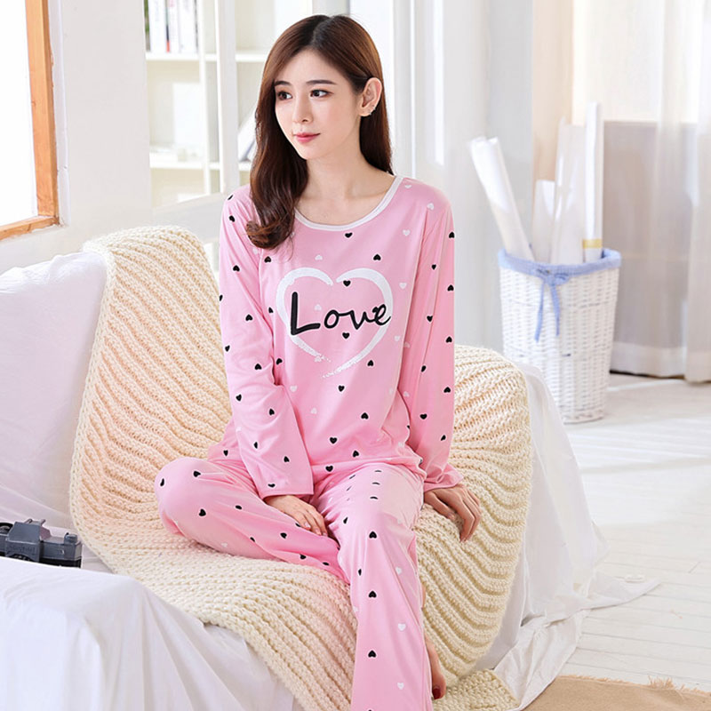 Pajamas / housewear set female Other / other M L XL XXL Polyester (polyester) Long sleeves Cartoon pajamas autumn routine Crew neck trousers Socket