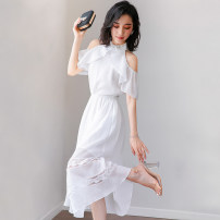 Dress Summer of 2018 white SMLXL longuette singleton  Sleeveless commute Crew neck High waist Solid color A button A-line skirt other Others Type A