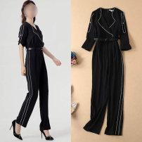 Casual pants Light blue black S M L XL Summer of 2019 trousers Jumpsuit High waist Versatile routine 81% (inclusive) - 90% (inclusive) other belt Other 100% Pure e-commerce (online only) Asymmetry