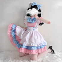 Cosplay women's wear suit goods in stock Over 14 years old 1561 Pink - Dress + apron + headdress + bow (excluding Bell), 2894 Pink (5-piece set), 1561 blue - Dress + apron + headdress + bow (excluding Bell), pink bell, white and black cat ears, white thigh socks, white and pink cat ears comic