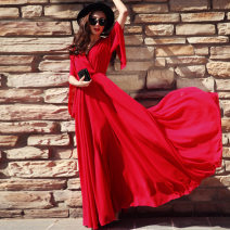 Dress Summer 2021 White, red, black, sapphire S,M,L,XL,2XL,3XL longuette singleton  elbow sleeve street V-neck Elastic waist Solid color Socket Big swing pagoda sleeve Others Type A Other / other More than 95% Chiffon Europe and America