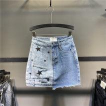 skirt Summer 2021 S,M,L,XL blue Short skirt street High waist Denim skirt Solid color Type A 71% (inclusive) - 80% (inclusive) Denim cotton Europe and America