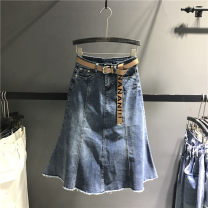 skirt Spring 2021 S,M,L,XL blue Mid length dress street High waist A-line skirt Solid color Type A 71% (inclusive) - 80% (inclusive) Denim cotton Tassels, stitching Europe and America