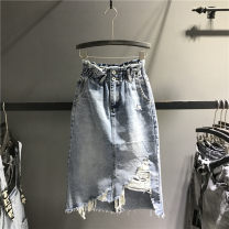 skirt Spring 2021 S,M,L,XL wathet Mid length dress street High waist skirt Solid color Type H 71% (inclusive) - 80% (inclusive) Denim cotton hole Europe and America