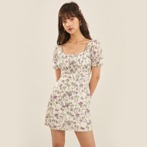 Dress Spring 2021 S,M,L Short skirt singleton  Short sleeve commute square neck High waist Decor zipper A-line skirt puff sleeve Others 18-24 years old Type A Egg laying meow Retro 81% (inclusive) - 90% (inclusive) Chiffon