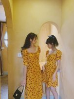 Dress Summer 2020 Yellow floral - short, yellow floral - long XS,S,M,L,XL singleton  commute High waist Broken flowers zipper A-line skirt puff sleeve Others 18-24 years old Type A Retro DD-A0657 81% (inclusive) - 90% (inclusive) other other