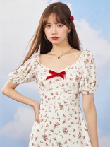 Dress Spring 2021 Red velvet floral dress, second batch pre-sale - 20 working days delivery S,M,L Short skirt singleton  Short sleeve commute square neck High waist Decor zipper A-line skirt puff sleeve Others 18-24 years old Type A Egg laying meow Retro bow 21S275 81% (inclusive) - 90% (inclusive)