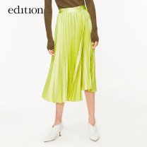 skirt Spring 2020 XS/155 S/160 M/165 L/170 xl/175 Fluorescent green Mid length dress Natural waist Irregular 25-29 years old 30% and below edition polyester fiber Asymmetry Same model in shopping mall (sold online and offline)