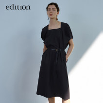 Dress Spring 2021 Charcoal black XS/155 S/160 M/165 L/170 XL/175 Mid length dress square neck 25-29 years old edition EBA1DRST03 More than 95% cotton Cotton 100% Same model in shopping mall (sold online and offline)