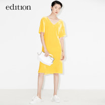 Dress Summer of 2018 Golden Orange Black XS/155 S/160 M/165 L/170 xl/175 Middle-skirt 25-29 years old edition EA182DRS140 81% (inclusive) - 90% (inclusive) other Viscose fiber (viscose fiber) 82.4% mulberry silk 17.6% Same model in shopping mall (sold online and offline)