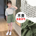 suit Meidi decoration garden Green Khaki bean paste green sky blue orange 110cm 120cm 130cm 140cm 150cm 160cm female summer leisure time Short sleeve + pants 2 pieces Thin money There are models in the real shooting Socket nothing Dot Cotton blended fabric children Expression of love MD-LS307 Class B
