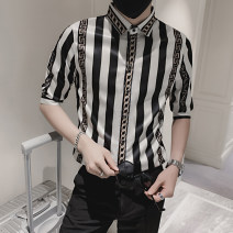 shirt Youth fashion z·w·k M L XL 2XL 3XL Off white red routine Pointed collar (regular) three quarter sleeve Self cultivation daily summer YF202131804 teenagers Polyester 92% polyurethane elastic fiber (spandex) 8% tide 2021 stripe Color woven fabric Spring 2021 No iron treatment printing