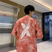 T-shirt Youth fashion Red, blue, rainbow routine M,L,XL,2XL,3XL,4XL,5XL Others elbow sleeve Crew neck easy daily summer ZT03 teenagers Off shoulder sleeve tide 3D effect other No iron treatment