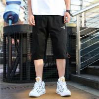 Casual pants Others Youth fashion black M,L,XL,2XL,3XL routine Pant Other leisure Straight cylinder get shot Capri overalls summer teenagers Military brigade of tooling 2021 Medium low back Straight cylinder Overalls pocket washing other other other polyester fiber Non brand