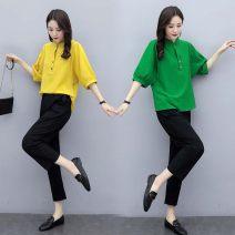 Fashion suit Summer 2020 M [recommended below 115 kg], l [recommended 115-130 kg], XL [recommended 130-145 kg], XXL [recommended 145-160 kg] Green + black pants, Yellow + black pants 31% (inclusive) - 50% (inclusive) cotton