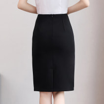skirt Spring of 2018 XS,S,M,L,XL,2XL,3XL Black (short without fork), black (short with fork), black (spring and autumn with fork), black (spring and autumn with fork), black (summer with fork), black (summer with fork) Middle-skirt commute Natural waist skirt Solid color Type H 25-29 years old H8028