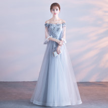 Dress / evening wear Weddings, adult gatherings, company annual meetings, daily appointments Smlxlxxlxxlxl tailor made, no return, no change Korean version longuette middle-waisted Fall 2017 Self cultivation One shoulder Bandage 18-25 years old CS-033 elbow sleeve flower Broken flowers Pure set other