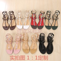 Sandals 34 35 36 37 38 39 40 41 42 43 Other/others Sheepskin (except sheep suede/sheep) flat Spring 2018 Clip toe Flat heel (less than or equal to 1cm) sweet Pure color Youth (18-40 years old) T-shaped buckle daily rubber Ankle strap Gao Bang sheepskin sheepskin Napa pattern