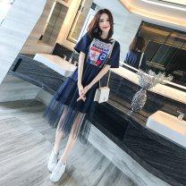 Women's large Summer 2021 blue Large L, large XL, s, m, 2XL singleton  commute Long sleeves letter Korean version Crew neck cotton routine 71% (inclusive) - 80% (inclusive) Medium length