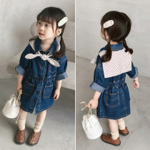 Dress Denim blue Other / other female 80 height 80cm 90 height 90cm 100 height 100cm 110 height 110cm 120 height 120cm Other 100% spring and autumn college Long sleeves Solid color Denim Denim skirt HZQ1155 Class B