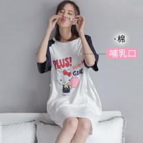 Home skirt Pregnant Wei Short sleeve summer Crew neck Thin money lovely Socket Cartoon animation
