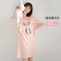 Nursing clothes M L Pregnant Wei Socket summer Short sleeve Medium length leisure time Dress Animal design Side opening viscose
