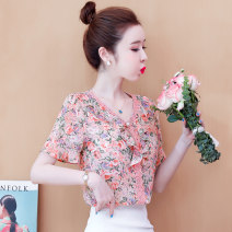 Lace / Chiffon Summer 2021 Green purple pink S M L XL XXL Short sleeve commute Socket singleton  easy Regular V-neck Decor routine 25-29 years old Simplessm / filament J18720 printing Korean version Other 100% Pure e-commerce (online only)