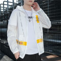 Jacket Battle Wolf Fashion City White yellow blue 4XL M L XL 2XL 3XL thin easy Other leisure summer Polyester 100% Long sleeves Wear out Hood Basic public youth routine Zipper placket Rubber band hem Closing sleeve Spring 2021 Cloth decoration (covering other fabrics) Digging bags with lids