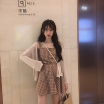 Dress Summer 2020 Red sling + skirt, blue sling + skirt, sunscreen shirt, three piece red sling and three piece blue sling S,M,L,XL Short skirt Two piece set commute One word collar High waist lattice Socket A-line skirt routine camisole 18-24 years old Type A Korean version other