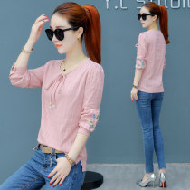T-shirt Pink blue white XXLSMLXL Autumn of 2018 Long sleeves Crew neck Self cultivation Regular routine commute 25-29 years old Korean version youth